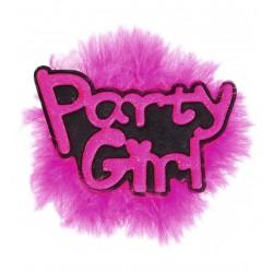 Lánybúcsúra kitűző Party Girl felirattal