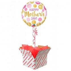 Anyák napi héliumos fólia lufi - pink, arany pöttyökkel