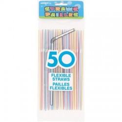 Parti szívószál 50 db-os színes, csíkos