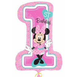 18 inch-es Minnie Egér - Minnie First Birthday Girl - Első Szülinapi Héliumos Fólia L