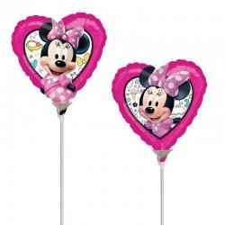 Minnie egeres szív alakú lufi pálcán
