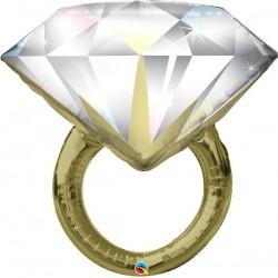 Esküvői gyémántgyűrű fólia lufi - 94 cm