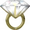 Esküvői gyémánt gyűrű fólia lufi - 94 cm