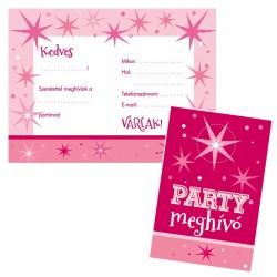 Rózsaszín parti meghívó és boríték 8 db-os