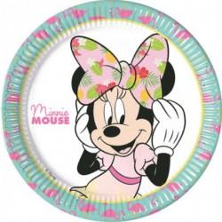 Minnie egér flamingós parti tányér - 23 cm, 8 db-os