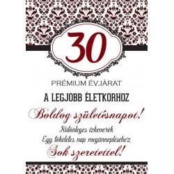 Születésnapi üveg címke 30. születésnapra damask mintás bordó 2 db-os