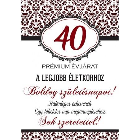 Születésnapi üveg címke 40. születésnapra damask mintás bordó 2 db-os
