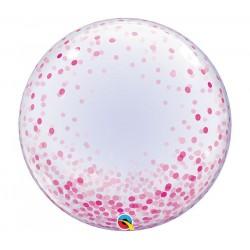 Rózsaszín konfettis dekor lufi