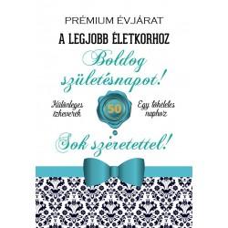 Születésnapi üveg címke 50. születésnapra damask mintás bordó 2 db-os