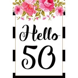 Születésnapi üveg címke Hello 40 virágos 2 db-os