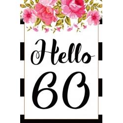 Születésnapi üveg címke Hello 50 virágos 2 db-os