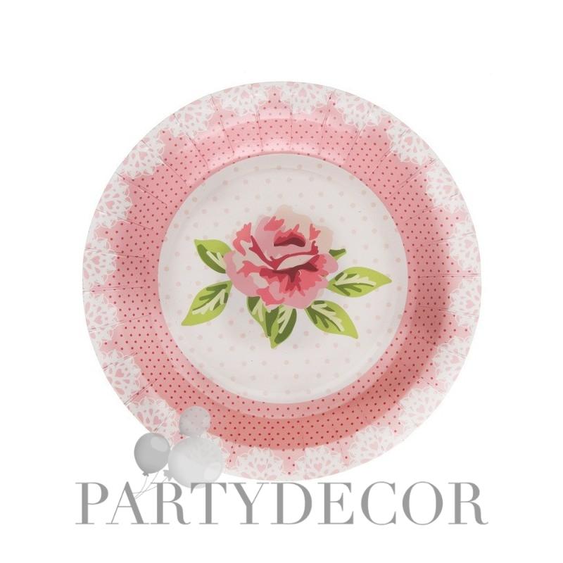 Rózsa mintás esküvői tányér vintage stílusú - 10 db-os
