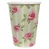Rózsa mintás vintage esküvői papír pohár 10 db-os