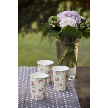 327bebbd32 Rózsa mintás vintage stílusú esküvői papír pohár 10 db-os