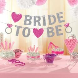 Lánybúcsúra füzér Bride to be felirattal csillámos