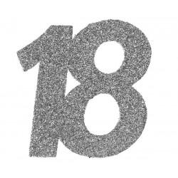 Ezüst glitteres konfetti 18-as szám alakú 6 db-os 6 x 5 cm