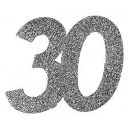 Ezüst glitteres konfetti 20-as szám alakú 6 db-os