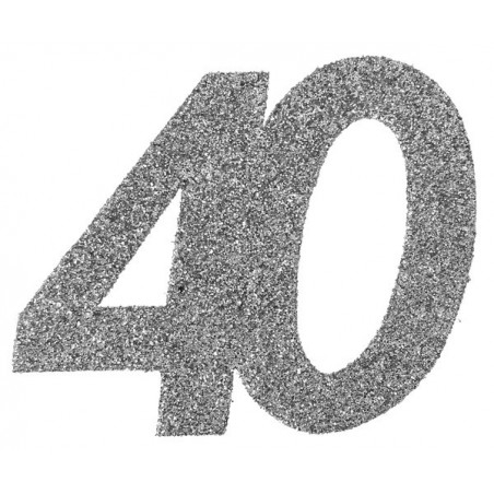 Ezüst glitteres konfetti 30-as szám alakú 6 db-os