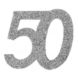 Ezüst glitteres konfetti 40-es szám alakú 6 db-os