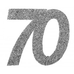 Ezüst glitteres konfetti 50-es szám alakú 6 db-os