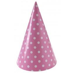 Rózsaszín, pöttyös parti csákó 10 db-os