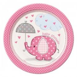 Baby shower - babaváró parti tányér pink bébielefánt mintával