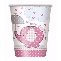 Baby shower - babaváró parti szalvéta pink bébielefánt mintával 33 x 33 cm