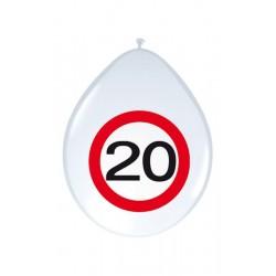 Születésnapi lufi 20-as számos sebességkorlátozós 8 db-os