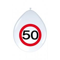 Születésnapi lufi 50-es számos sebességkorlátozós 8 db-os