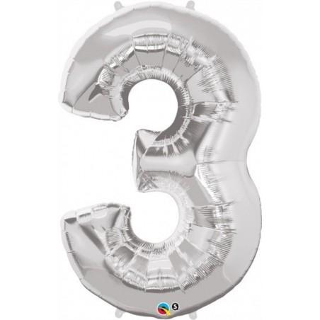 3-as szám formájú héliumos fólia lufi - ezüst - 86 cm