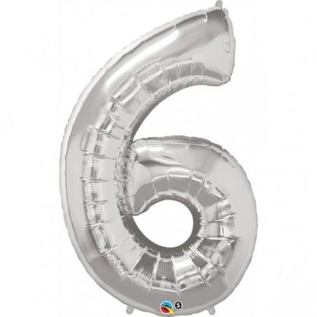 6-os szám formájú héliumos fólia lufi - ezüst - 86 cm