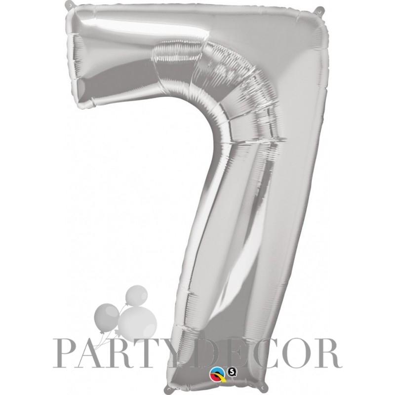 7-es szám formájú héliumos fólia lufi - ezüst - 86 cm