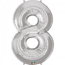 8-as szám formájú héliumos fólia lufi - ezüst - 86 cm