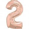 2-es szám formájú héliumos fólia lufi - rose gold - 86 cm