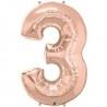 3-as szám formájú héliumos fólia lufi - rose gold - 86 cm