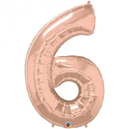 6-os szám formájú héliumos fólia lufi - rose gold - 86 cm