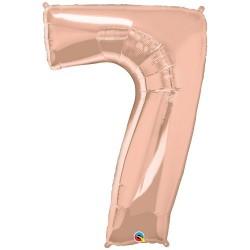 7-es szám formájú héliumos fólia lufi - rose gold - 86 cm