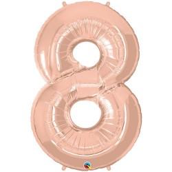 8-as szám formájú héliumos fólia lufi - rose gold - 86 cm
