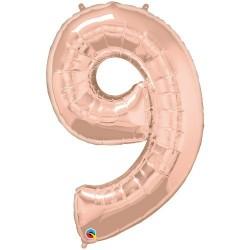9-es szám formájú héliumos fólia lufi - rose gold - 86 cm