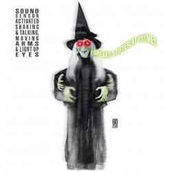 Rémisztő boszorkány halloween dekoráció, hangot kiadó , világító szemmel 60 cm-es