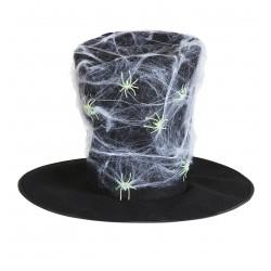 Maxi fekete cilinder pókhálóval, pókokkal átszőve halloweenre