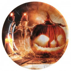 Világító töklámpás halloween parti tányér