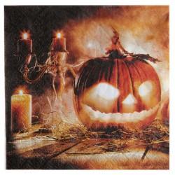 Világító töklámpás halloween parti szalvéta