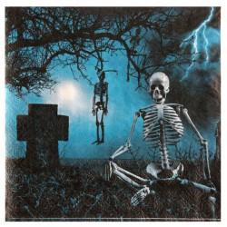 Csontvázak temetőben halloween parti szalvéta