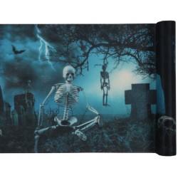 Kísértetjárás csontvázakkal asztali futó halloweenre
