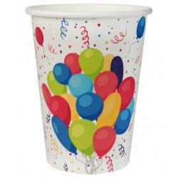 Születésnapi parti pohár színes tortás, lufis 250 ml 10 db