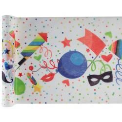 Születésnapi parti asztali futó színes tortás, lufis 30 cm x 5 m