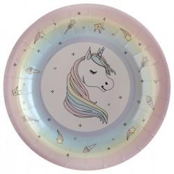 Unikornis parti tányér 22,5 cm 10 db-os