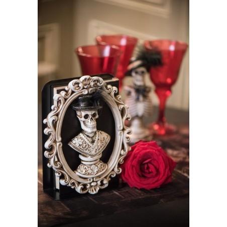 Halloweeni dekoráció - csontvázas képkeret 19 cm