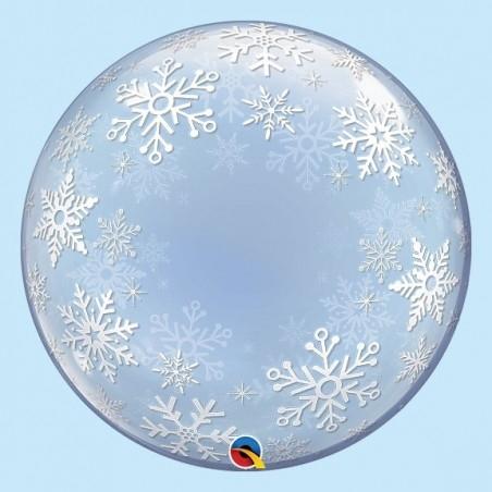 Karácsonyi Hópehely Mintás Bubble Lufi - 56 cm